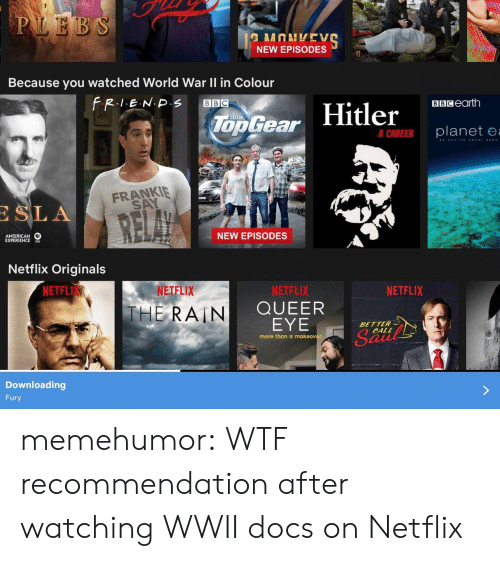 Netflix, Tumblr, and Wtf: NEW EPISODES  Because you watched World War Il in Colour  BBCearth  Too Gear  er  planete  FRANKIE  SA  SLA  AM RICAN  EXPERIENCES  NEW EPISODES  Netflix Originals  NETFL  NETFLIX  NETFLIX  QUEER  EYE  NETFLIX  THE, RAIN  BETTER  CALL  more than a makeover  Downloading  Fury memehumor:  WTF recommendation after watching WWII docs on Netflix