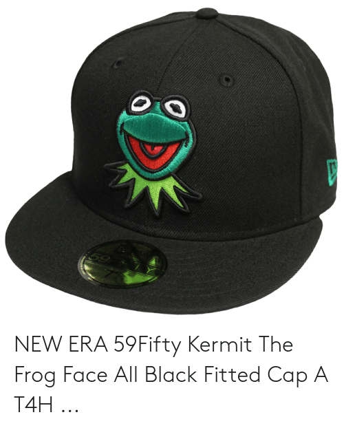 finest selection dfe13 e5cc4 Kermit the Frog, Black, and Frog  NEW ERA 59Fifty Kermit The Frog Face