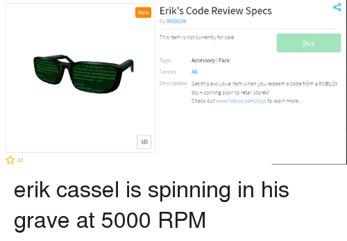 New Eriks Code Review Specs By Roblox This Item Is Not Currently
