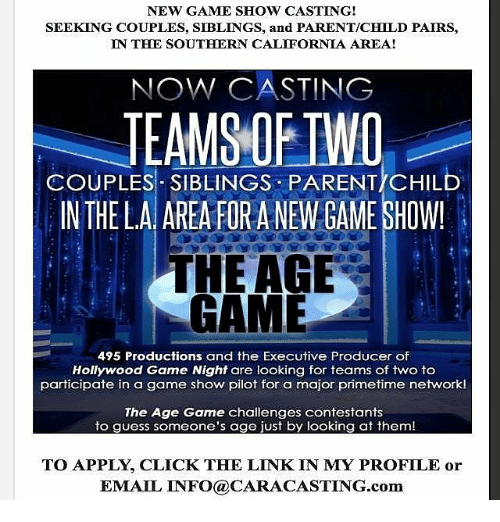 new game show casting seeking couples siblings and parentchild
