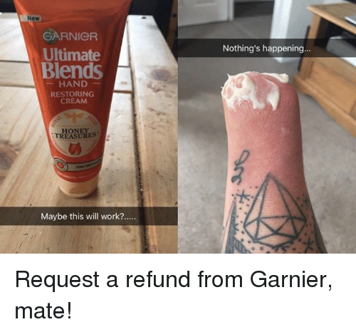 Memes, Work, and 🤖: New  GARNICR  Ultimate  Blends  Nothing's happening...  HAND  RESTORING  CREAM  HONEY  TREASURES  Maybe this will work?.... Request a refund from Garnier, mate!