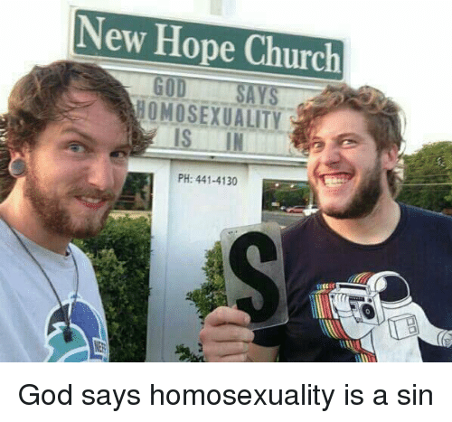 Homosexuality is a sin meme