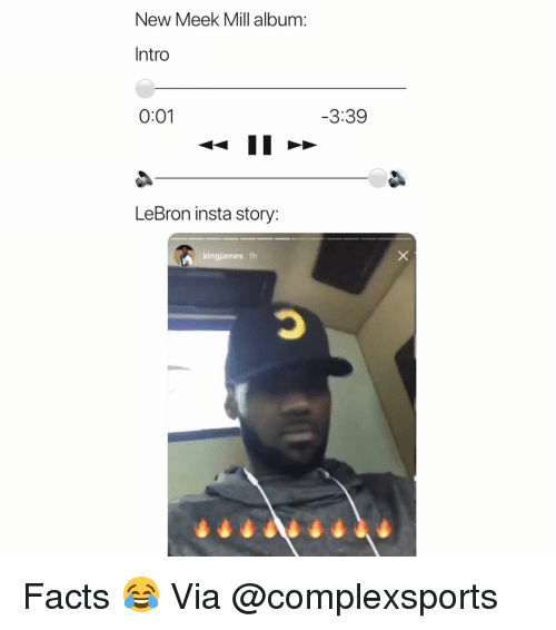 Basketball, Facts, and Meek Mill: New Meek Mill album:  Intro  0:01  3:39  LeBron insta story:  kingjames 1h Facts 😂 Via @complexsports