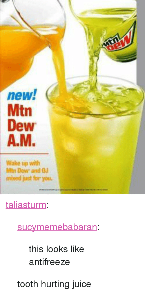 "Juice, Tumblr, and Blog: new.  Mtn  Dew  A.M.  Wake up with  Mtn Dew and OJ  mioced just for you. <p><a href=""https://taliasturm.tumblr.com/post/159890789526/sucymemebabaran-this-looks-like-antifreeze-tooth"" class=""tumblr_blog"">taliasturm</a>:</p> <blockquote> <p><a href=""http://sucymemebabaran.tumblr.com/post/159890729992"" class=""tumblr_blog"">sucymemebabaran</a>:</p> <blockquote><p>this looks like antifreeze</p></blockquote> <p>tooth hurting juice</p> </blockquote>"