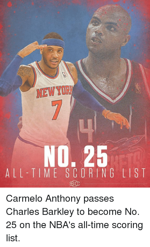Carmelo Anthony, Memes, and Charles Barkley: NEW  No. 25  ALL TIME SCORING LIST Carmelo Anthony passes Charles Barkley to become No. 25 on the NBA's all-time scoring list.