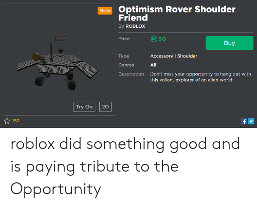 New Optimism Rover Shoulder Friend by ROBLOX Price R 50 Buy