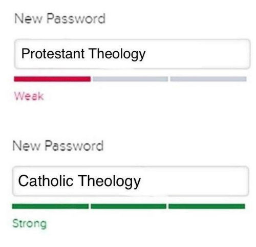 Catholic, Strong, and Theology: New Password  Protestant Theology  Weak  New Password  Catholic Theology  Strong