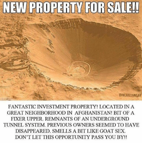 Sex, Goat, and Afghanistan: NEW PROPERTY FOR SALE!  OVALHALLAWEAR  FANTASTIC INVESTMENT PROPERTY LOCATED IN A  GREATNEIGHBORHOOD IN AFGHANISTAN! BIT OF A  FIXER UPPER. REMNANTS OF AN UNDERGROUND  TUNNEL SYSTEM. PREVIOUS OWNERS SEEMED TO HAVE  DISAPPEARED. SMELLS A BIT LIKE GOAT SEX.  DON'T LET THIS OPPORTUNITY PASS YOU BY!!