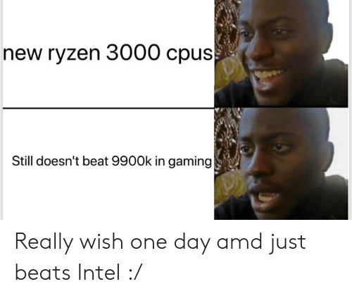 New Ryzen 3000 Cpus Still Doesn T Beat 9900k In Gaming Really Wish One Day Amd Just Beats Intel Reddit Meme On Me Me