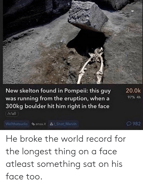 Record, World, and Running: New skelton found in Pompeii: this guy  was running from the eruption, when a  300kg boulder hit him right in the face  /r/all  Welthatsucks ansa.it &I Shot Marvin  20.0k  97% 4h  O982 He broke the world record for the longest thing on a face atleast something sat on his face too.