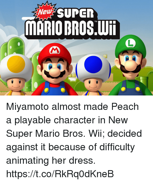 New SUPER MARIO BROS TM Wii Miyamoto Almost Made Peach a