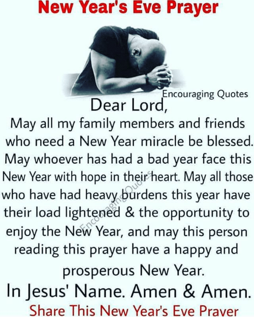 New Years Eve Prayer Dear Lordcouraging Quotes May All My Family