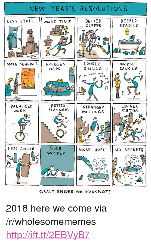 """Dancing, New Year's Resolutions, and Singing: NEW YEAR'S RESOLUTIONS  LESS STUFF MORE TIME  BETTER  COFFEE  DEEPER  REA DING  2  re  LOUDER  NAPS E I SINGING  MoRE SUNRISESFREQUENT  WORSE  「11 DANCING  To MAKE You  FEEL  BETTER  PLANNING  8  STRANGER PARTIES  MEETINGS  BALANCED  LONGER  WORK  MORE  WONDER  LESS ANGER  MORE HOPE NO REGRETS.  GRANT SNIDER FoR EVERNOTE <p>2018 here we come via /r/wholesomememes <a href=""""http://ift.tt/2EBVyB7"""">http://ift.tt/2EBVyB7</a></p>"""