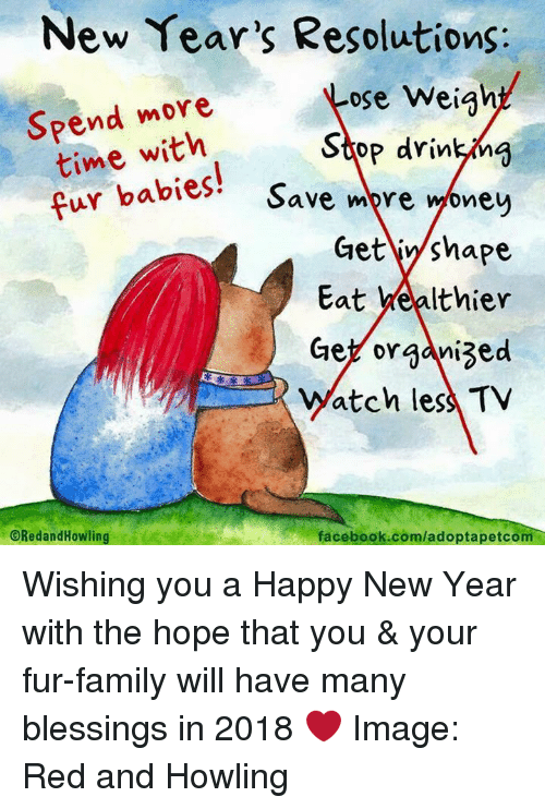 Facebook, Family, and Memes: New Year's Resolutions:  ose weigh!  Spend more  time with  cur babies! Save re one  op drinkn  babies' Save mpre woney  Get iy/shape  Eat yealthier  Ge organized  Watch less TV  ORedandHowling  facebook.com/adoptapetcom Wishing you a Happy New Year with the hope that you & your fur-family will have many blessings in 2018 ❤️  Image: Red and Howling