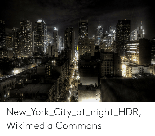 New York, New York City, and Commons: New_York_City_at_night_HDR, Wikimedia Commons