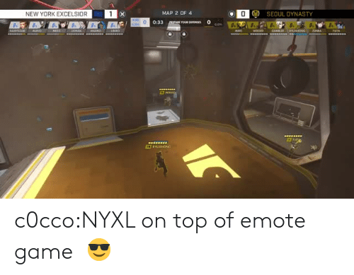 New York, Tumblr, and Blog: NEW YORK EXCELSIOR  MAP 2 OF 4  ) SEOUL DYNASTY  0:33 c0cco:NYXL on top of emote game  😎
