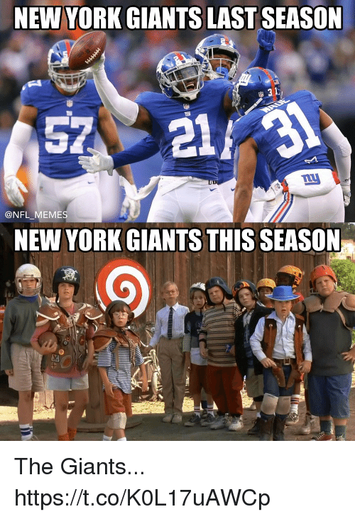 Football, Memes, and New York: NEW YORK GIANTS LAST SEASON  57211  @NFL_MEMES  NEW YORK GIANTS THIS SEASON The Giants... https://t.co/K0L17uAWCp