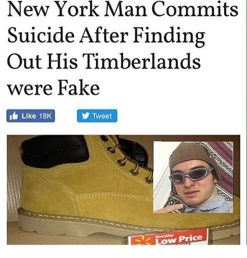 new york man commits suicide after finding out his timberlands 6596348 ✅ 25 best memes about timberland timberland memes