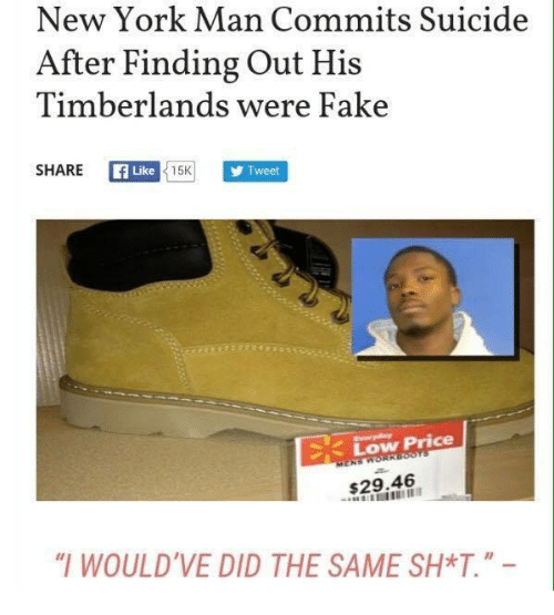 new york man commits suicide after finding out timberlands were 5130028 new york man commits suicide after finding out timberlands were