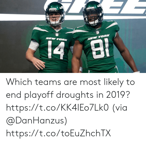 Memes, New York, and 🤖: NEW YORK Which teams are most likely to end playoff droughts in 2019? https://t.co/KK4lEo7Lk0 (via @DanHanzus) https://t.co/toEuZhchTX