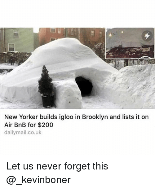 Bailey Jay, Funny, and Meme: New Yorker builds igloo in Brooklyn and lists it on  Air BnB for $200  dailymail.co.uk Let us never forget this @_kevinboner