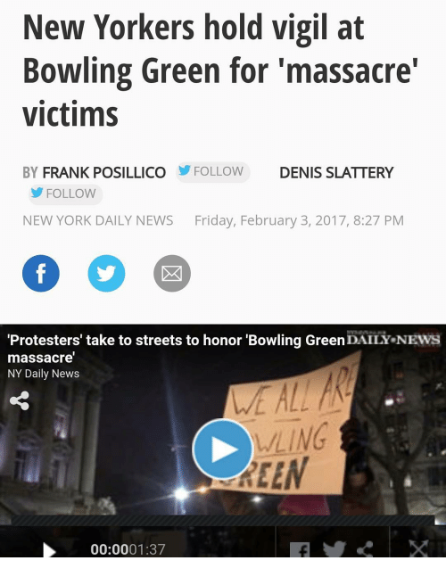 New Yorkers Hold Vigil at Bowling Green for 'Massacre