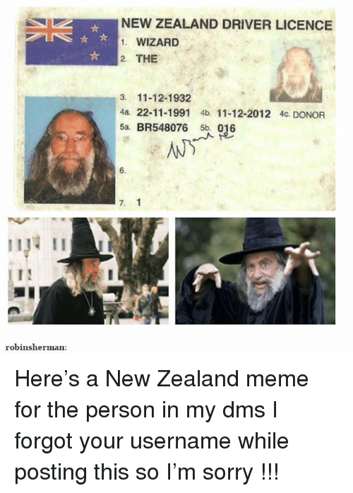 NEW ZEALAND DRIVER LICENCE 1 WIZARD 2 THE 3 11-12-1932 4a 22