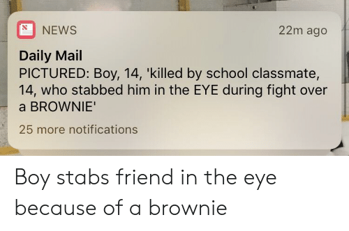 News, School, and Daily Mail: NEWS  22m ago  Daily Mail  PICTURED: Boy, 14, 'killed by school classmate,  14, who stabbed him in the EYE during fight over  a BROWNIE  25 more notifications Boy stabs friend in the eye because of a brownie