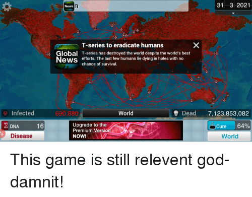 God, News, and Holes: News  31 3 2021  Global  News  T-series to eradicate humans  T-series has destroyed the world despite the world's best  efforts. The last few humans lie dying in holes with no  chance of survival.  Infected  690,880  World  Dead7,123,853,082  16  Upgrade to the  Premium Versio  A DNA  Cure 64%  Disease  NOW!  World