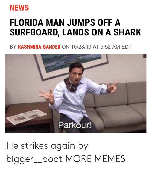 Dank, Florida Man, and Memes: NEWS  FLORIDA MAN JUMPS OFF A  SURFBOARD, LANDS ON A SHARK  BY KASHMIRA GANDER ON 10/28/19 AT 5:52 AM EDT  Parkour! He strikes again by bigger__boot MORE MEMES