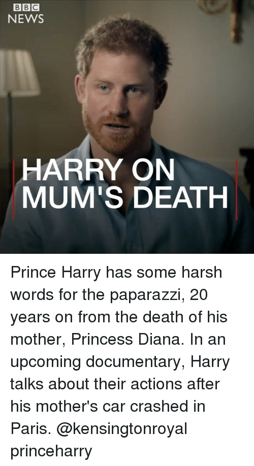 Memes, News, and Prince: NEWS  HARRY ON  MUM'S DEATH Prince Harry has some harsh words for the paparazzi, 20 years on from the death of his mother, Princess Diana. In an upcoming documentary, Harry talks about their actions after his mother's car crashed in Paris. @kensingtonroyal princeharry