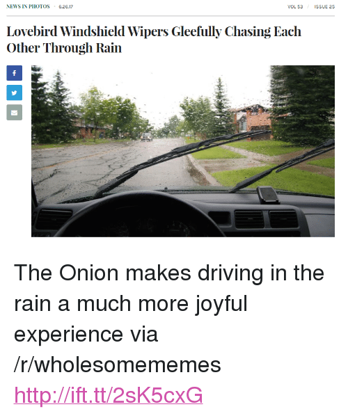 """Driving, News, and The Onion: NEWS IN PHOTOS 6.26.17  VOL 53  ISSUE 25  Lovebird Windshield Wipers Gleefully Chasing Each  Other Through Rain <p>The Onion makes driving in the rain a much more joyful experience via /r/wholesomememes <a href=""""http://ift.tt/2sK5cxG"""">http://ift.tt/2sK5cxG</a></p>"""