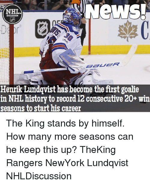 News Nhl Discussion Henrik Lundqvist Has Become The First Goalie In