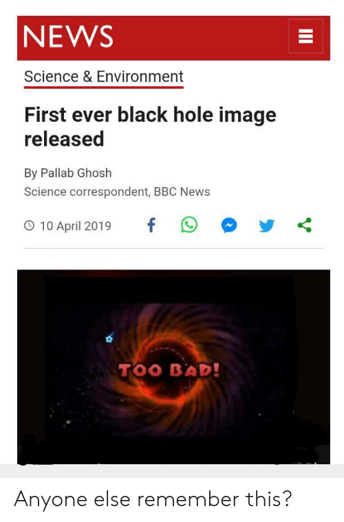 First picture of a black hole bbc news
