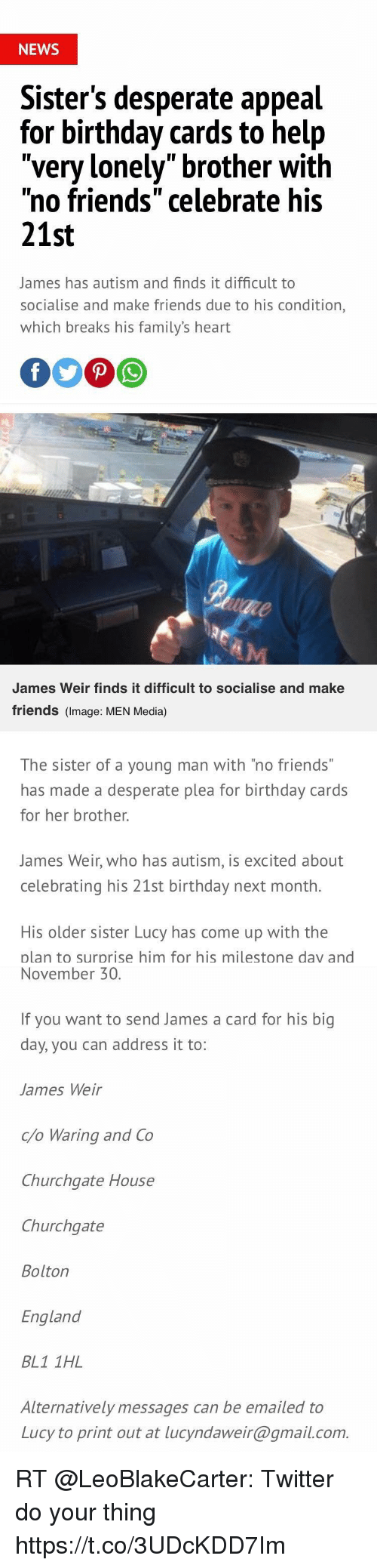 NEWS Sisters Desperate Appeal For Birthday Cards To Help Very