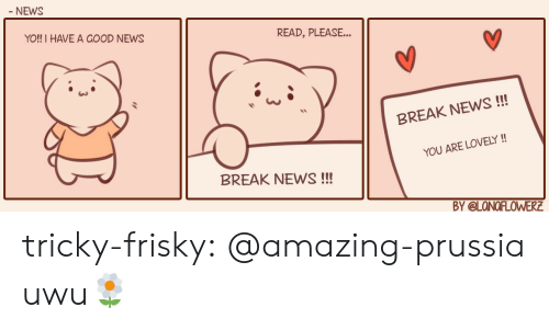 News, Target, and Tumblr: NEWS  YO!! I HAVE A GOOD NEWS  READ, PLEASE...  BREAK NEWS!  YOU ARE LOVELY  BREAK NEWS!!!  Y @LONOFLOWERE tricky-frisky:  @amazing-prussia   uwu🌼