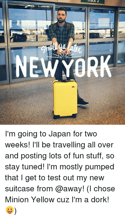 Memes, Japan, and Minion: NEWYORK I'm going to Japan for two weeks! I'll be travelling all over and posting lots of fun stuff, so stay tuned! I'm mostly pumped that I get to test out my new suitcase from @away! (I chose Minion Yellow cuz I'm a dork! 😛)