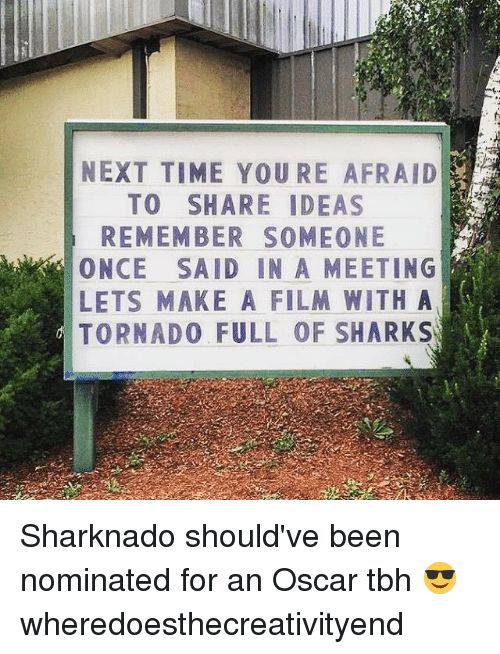 Memes, Tbh, and Time: NEXT TIME YOURE AFRAID  TO SHARE IDEAS  REMEMBER SOMEONE  ONCE SAID IN A MEETING  LETS MAKE A FILM WITH A  TORNADO FULL OF SHARKSW Sharknado should've been nominated for an Oscar tbh 😎 wheredoesthecreativityend