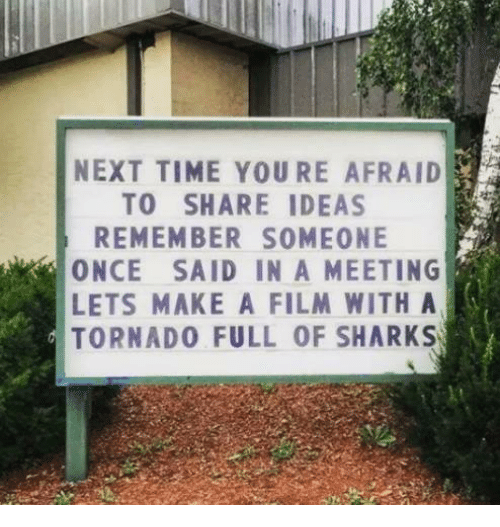 Memes, Shark, and Sharks: NEXT TIME YOURE AFRAID  TO SHARE IDEAS  REMEMBER SOMEONE  ONCE SAID IN A MEETING  LETs MAKE A FILM WITH A  TORNADO FULL OF SHARKS