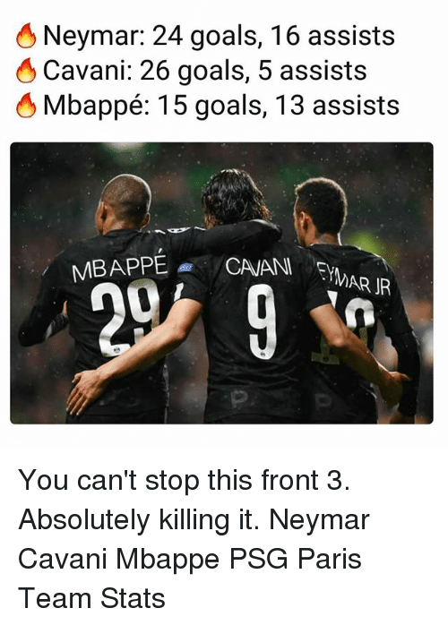 Goals, Memes, and Neymar: Neymar: 24 goals, 16 assists  Cavani: 26 goals, 5 assists  Mbappé: 15 goals, 13 assists  MAR IR You can't stop this front 3. Absolutely killing it. Neymar Cavani Mbappe PSG Paris Team Stats