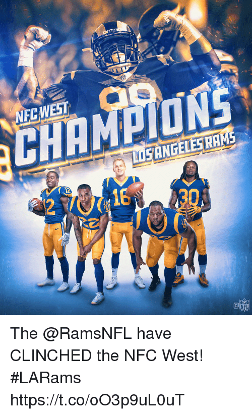 Memes, Nfl, and 🤖: NFCWEST  SANGELESHAMS  12  18  NFL The @RamsNFL have CLINCHED the NFC West! #LARams https://t.co/oO3p9uL0uT