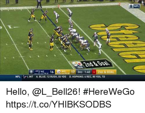 Hello, Memes, and Nfl: NFL  17 3RD 1:40 4 2ND & GOAL  D. HOPKINS: 4 REC, 80 YDS, TD  NE。.. 16  PIT  (10-3)  NFL  ), INT  A. BLUE: 12 RUSH, 55 YDS Hello, @L_Bell26! #HereWeGo https://t.co/YHIBKSODBS