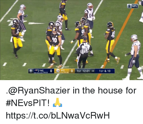 Memes, Nfl, and House: NFL  20  PIT  0 1ST 12:01 38 1ST & 10  [10-3) .@RyanShazier in the house for #NEvsPIT! 🙏 https://t.co/bLNwaVcRwH