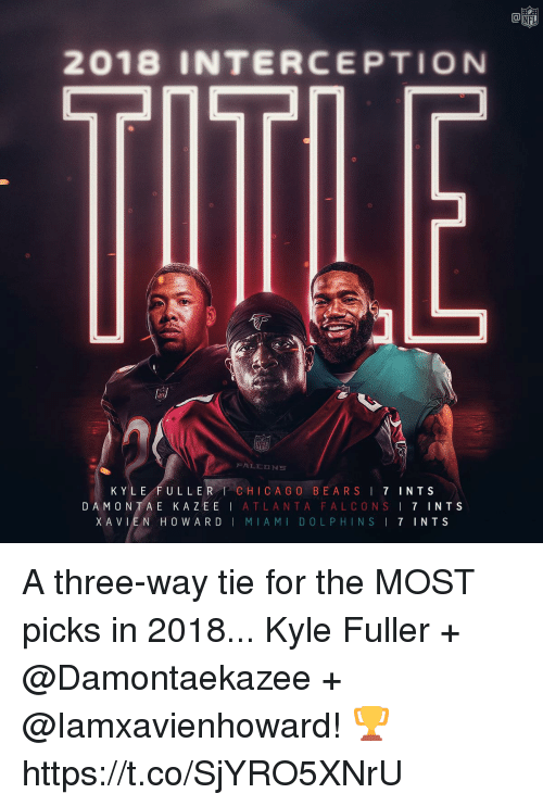 Atlanta Falcons, Memes, and Nfl: NFL  2018 INTERCEPTION  KYLE FULLER CHICA G O BEARSI 7 INTS  DAMONTA E KAZEE | ATLANTA FALCONS ! 7 INTS  XAVLEN HOWARD | MIAMI DOLPHINS I 7 INTS A three-way tie for the MOST picks in 2018...   Kyle Fuller + @Damontaekazee + @Iamxavienhoward! 🏆 https://t.co/SjYRO5XNrU