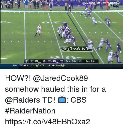 Memes, Nfl, and Cbs: NFL  2nd &  AK. 10B  13@) NYJ  R 5:14 40 2ND & 8  (2-8)  (5-5)  NFL  ▼ NE.  13 3RD 4:00(g HOW?!  @JaredCook89 somehow hauled this in for a @Raiders TD!  📺: CBS #RaiderNation https://t.co/v48EBhOxa2