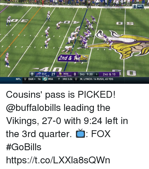 Memes, Nfl, and Rush: NFL  2nd & Te  BUF27 ,MIN0 3RD 9:30 6 2ND & 10  (0-2  -2)  -0-1)  (1-0-1)  3RD 3:26  NFL  ⓥ OAK . 16  MIA  7  M.LYNCH: 14 RUSH, 45 YDS Cousins' pass is PICKED!  @buffalobills leading the Vikings, 27-0 with 9:24 left in the 3rd quarter.  📺: FOX #GoBills https://t.co/LXXla8sQWn