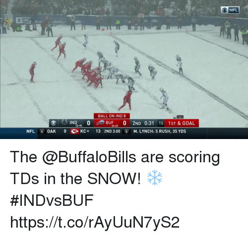 Memes, Nfl, and Goal: NFL  32  5  BALL ON IND 8  BUF0 2ND 0:31 15 1ST & GOAL  13 2ND 3:00 ⓥ  13-9)  (6-6)  NFL  OAK  0  KC .  M. LYNCH: 5 RUSH, 35 YDS The @BuffaloBills are scoring TDs in the SNOW! ❄️ #INDvsBUF https://t.co/rAyUuN7yS2