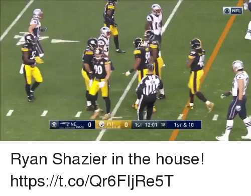 Andrew Bogut, Football, and Nfl: NFL  90  NEPIT  0 1ST 12:01 38 1ST & 10  110-3) Ryan Shazier in the house! https://t.co/Qr6FIjRe5T