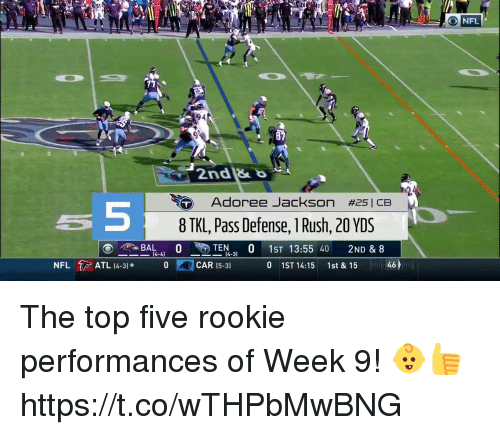Memes, Nfl, and Rush: NFL  94  2nd&  Adoree Jackson  #25|CB  5  8TKL, Pass Defense, 1 Rush, 20 YDS  CAR (5-3)  0  1ST 14:15  1st & 15  ム6 The top five rookie performances of Week 9! 👶👍 https://t.co/wTHPbMwBNG
