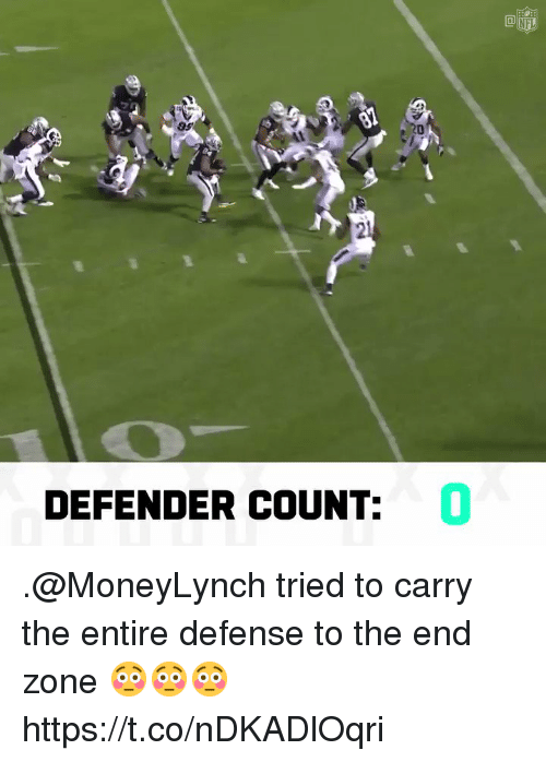 Memes, Nfl, and 🤖: NFL  9s  21  DEFENDER COUNT:  0 .@MoneyLynch tried to carry the entire defense to the end zone 😳😳😳 https://t.co/nDKADlOqri
